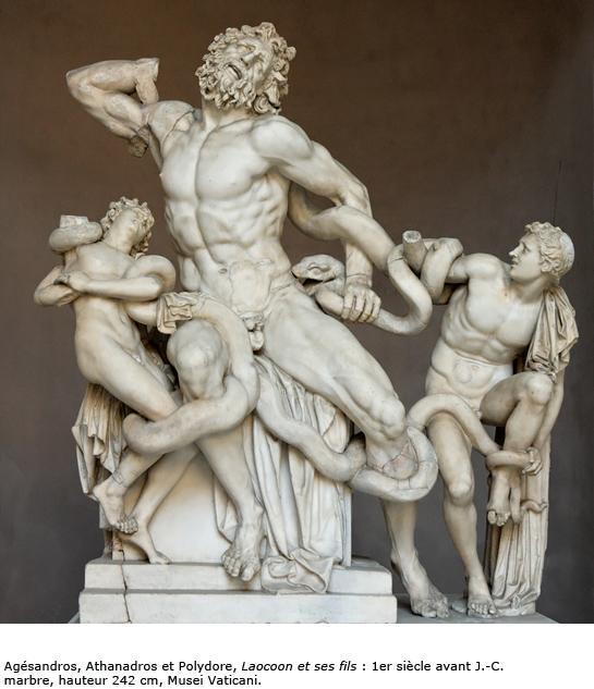 Agésandros, Athanadros et Polydore, Laocoon et ses fils : 1er siècle avant J.-C. marbre, hauteur 242 cm, Musei Vaticani